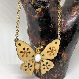 Butterfly Enamel Pendant Necklace Vintage 1970's